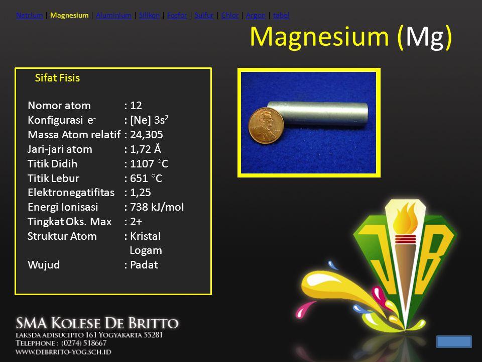 Magnesium (Mg) Sifat Fisis Nomor atom : 12 Konfigurasi e- : [Ne] 3s2